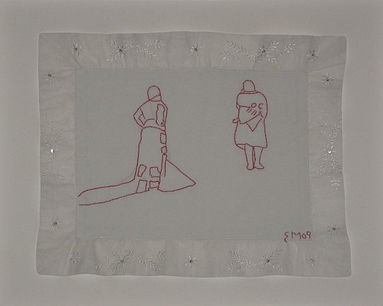 Click the image for a view of: Untitled VI. 2009. Found cloth, cotton thread embroidery. 350x450mm
