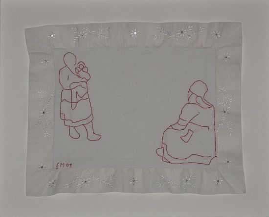 Click the image for a view of: Untitled VII. 2009. Found cloth, cotton thread embroidery. 350x450mm