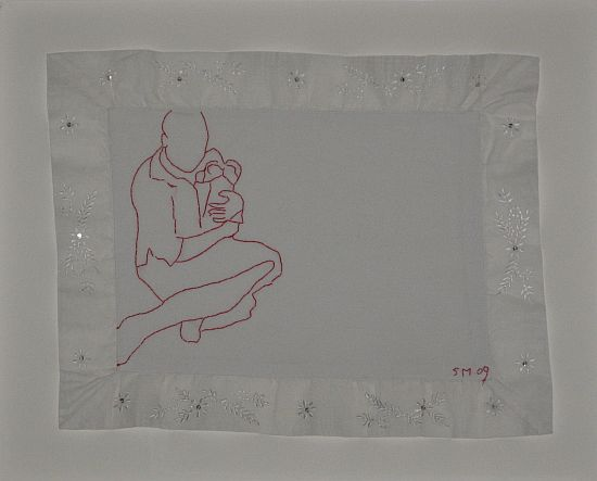 Click the image for a view of: Untitled VIII. 2009. Found cloth, cotton thread embroidery. 350x450mm