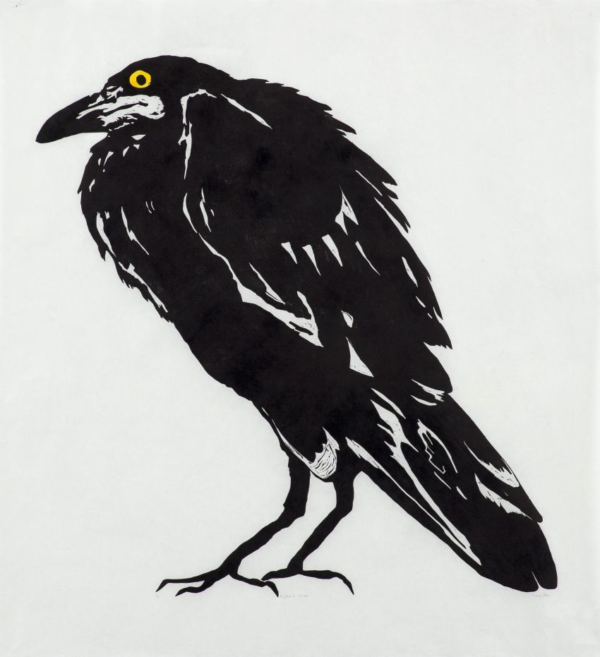 Fiona Pole. Kyosai's Crow. 2015. Linocut, chine colle. Edition 5. 970X920mm