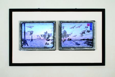 Click the image for a view of: The Multiple.2009. woodcut, chine-coole,LCDs with machinima, polyptych of 4 prints and 3 screens. edition 3.405 x 460mm