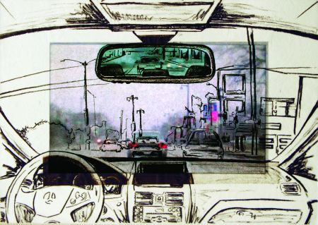 Click the image for a view of: Kinnickinnic. 2009. lithograph,LCD with video. edition 3 . 255 x 355 x 50mm