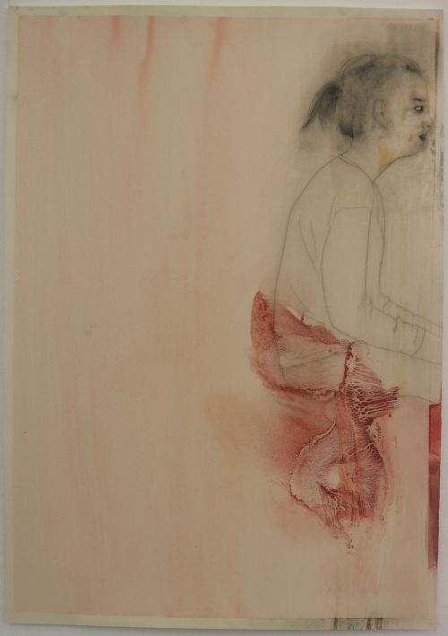 Click the image for a view of: Terry Kurgan. Untitled (red edge). 2011. charcoal, pencil, beeswax, oil on Fabriano paper primed with rabbit-skin glue. 1000X700mm