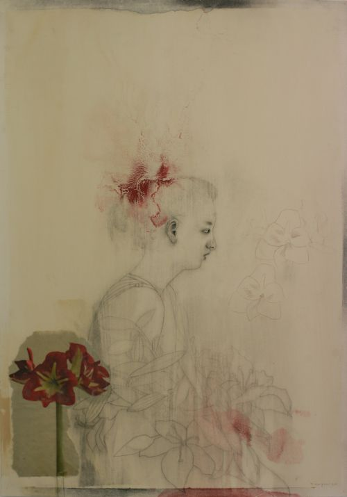 Click the image for a view of: Terry Kurgan. Untitled (blooms). 2011. charcoal, pencil, red oxide, oil, collage, beeswax on Fabriano paper primed with rabbit-skin glue. 1000X700mm